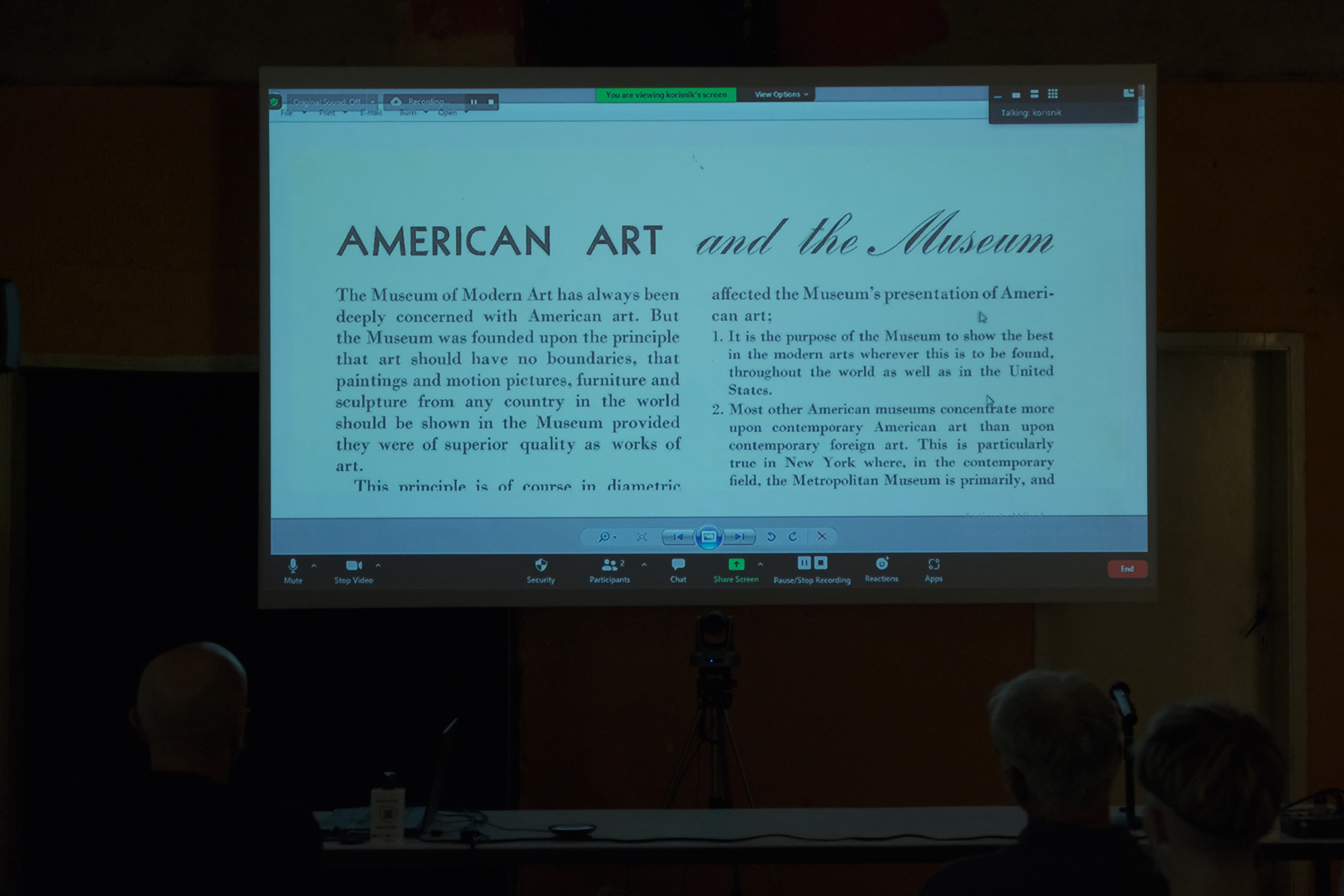 Technical Assistant of the Museum of American Art